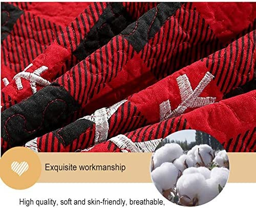 WYHQL Couvre-lit matelassé Couverture de Flocon de Neige de Noël Plaid Rouge 2 Personne Courtepointe lavables Couvre-Lits Décorations de Noël Literie 3 pièces (Size : 230×250cm)