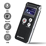 Lysignal Portable Digital Voice Recorder Sound Audio Recorder Dictaphone LCD Recorder MP3 Player-8GB (Black)