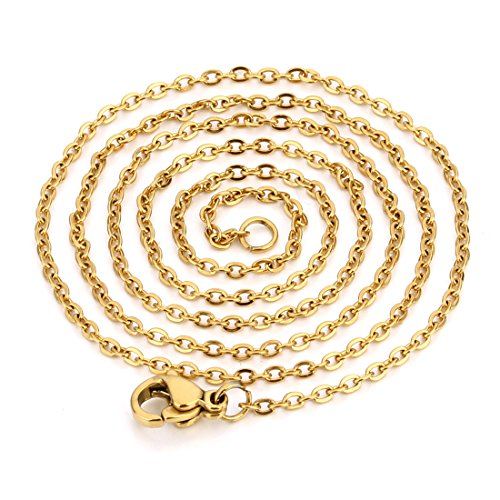 Linsoir Beads Stainless Steel Small Flat Cable Rolo O Chain Necklace with Lobster Clasp Soldered Links 20 inch/pc 5 pcs/lot Gold Finish