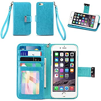 iPhone 6S Case / iPhone 6 Case, IZENGATE [Classic Series] Wallet Case Premium PU Leather Flip Cover Folio with Stand for Apple iPhone 6 (2014) / Apple iPhone 6S (2015) (Turquoise Blue)