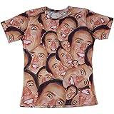 T-shirt 3D Print Super Star Nicolas Cage Face Laugh Hip Hop Sleeves Funny (L)