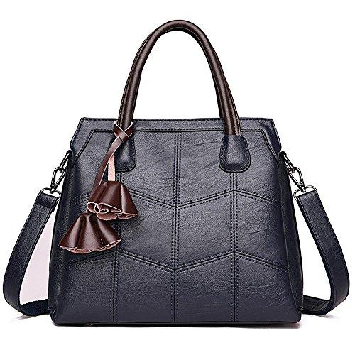bolsa hombro tres mano moda de pisos de tamaño línea Penao 30cmx12cmx26cm Blue bolso PU Bordado de solo 7q0gtXv4x