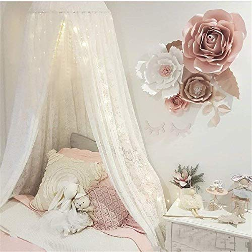 Princess Bed Canopy Lace Mosquito Net for Kids Baby , Round Dome Kids Indoor Outdoor Castle Play Tent Hanging House Decoration Reading Nook Cotton Canvas Height 270cm/107 inch (Steel Canopy Bed)