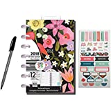 3 Pcs Bundle: Me & My Big Ideas 2018 Mini Happy Planner, 12 Month Happy Planner bundled with Recollections Sticker + Paper Mate Inkjoy Ballpoint Pen, Seasonal 2018