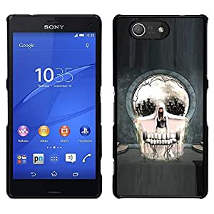 MOBMART Slim Sleek Hard Back Case Cover Armor Shell FOR Sony Xperia Z3 Compact - Skull Abstract Goth Art