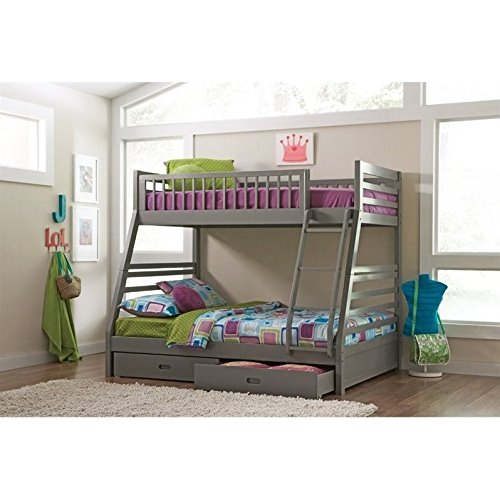 Coaster 460182-CO Cooper Twin and Full Bunk Bed with Two Storage Drawers Attached Ladder and Safety Rails In