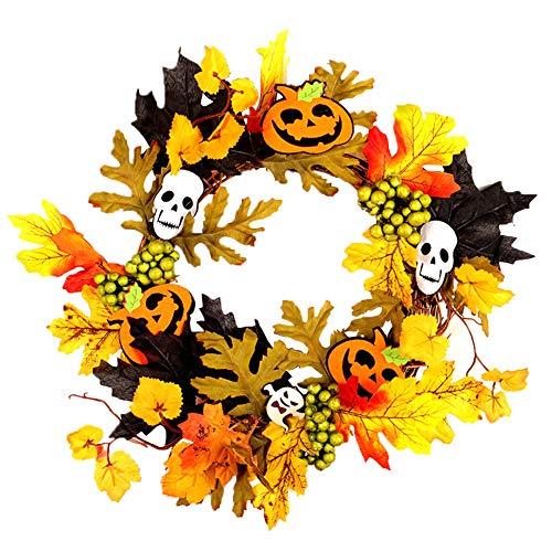 zhenleisier Halloween Decoration,Pumpkin MapleLeaf Bat Berries Rattan Garland Wreath Halloween Hanging Decor Party Haunted House Bar Carnival Window Decor 2#