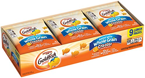 Baked Grain Whole (Pepperidge Farm, Goldfish, Crackers, Baked with Whole Grain, Cheddar, 0.9 oz, 9 count bags, 12-pack)