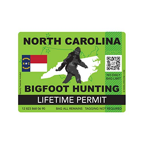 fagraphix North Carolina Bigfoot Hunting Permit Sticker Die Cut Decal Sasquatch Lifetime FA Vinyl - 4.00 Wide