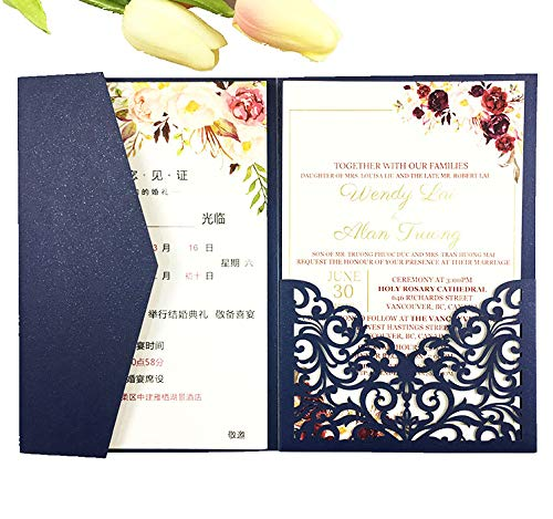 - 25 sets Pearl White/Ivory/Pink/Navy Blue/Burgundy paper Tri Fold Vertico pocket Laser Cut Vine Wedding Invitations Cards Hollow Carving Greeting invites Engagement Birthday Bridal Shower (navy blue)