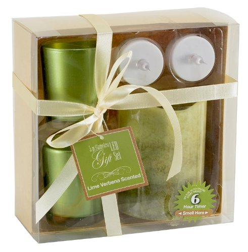 5 Piece Green Flameless LED Gift Set Lime Verbena Scent 4