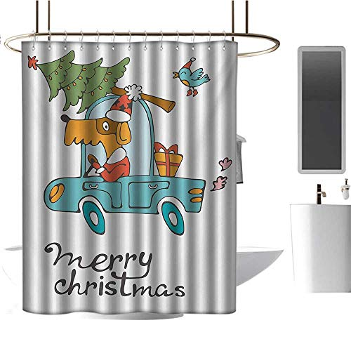 TimBeve Hotel Grade Shower Curtain Christmas,Blue Vintage Car Dog Driving with Santa Costume Cute Bird Tree and Gift Present,White Multi,Washable,Durable,Brick Dobby Pattern for Bathroom -