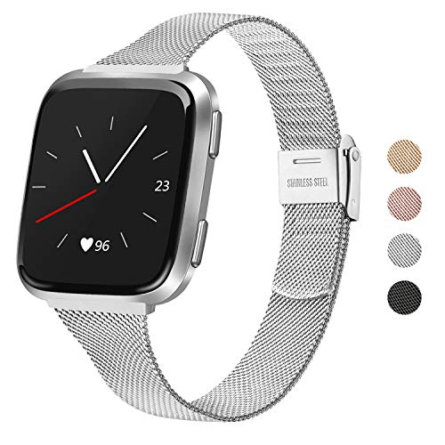 """Meliya Metal Slim Bands Compatible for Fitbit Versa 2 / Fitbit Versa/Fitbit Versa Lite, Stainless Steel Metal Clasp Thin Replacement Bands for Women Men (for 6.7""""-8.7"""" Wrists, Silver)"""