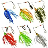Feccile S-ports & Fit-ness Hard Spinner Fishing Lures Bass Fish Baits,6Pcs,Random Color