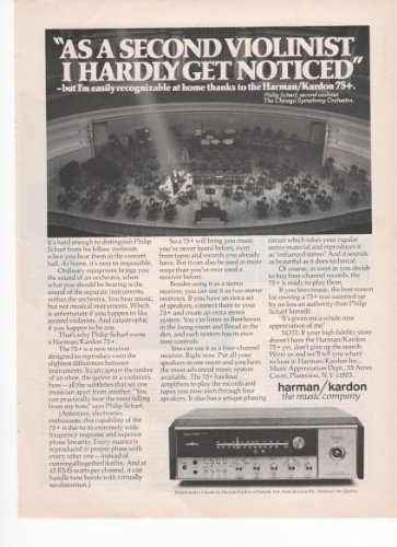 Harman Kardon Music Company Music Receiver 1973 Vintage Antique Advertisement