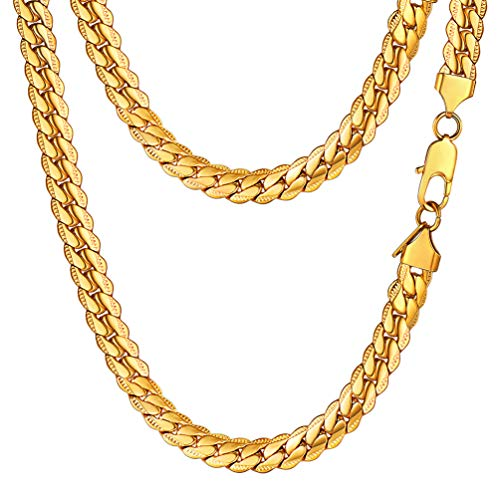 PROSTEEL Miami Gold Chain for Men Cuban Link Necklace 18K Plated Hiphop Rock Gift Women Men Jewelry Hip Hop Chain Necklace