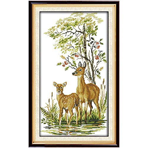 (Full Range of Embroidery Starter Kits Stamped Cross Stitch Kits Beginners for DIY Embroidery with 40 Pattern Designs - Deer Family)