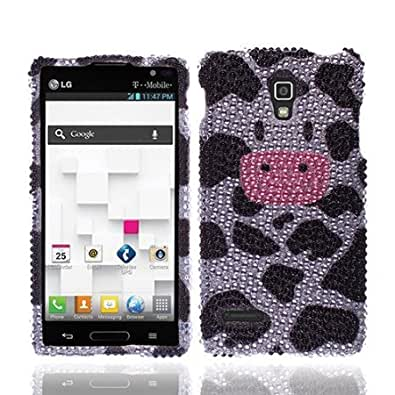 NextKin Bling Crystal Full Rhinestones Diamond Case Protector For LG Optimus L9 P769, Moo Moo Cow