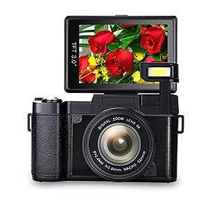 Digital Camera Vlogging Camera Full HD 1080p Vlog Camera Point and Shoot Camera with 3.0 Inch Flip Screen with Retractable Flashlight