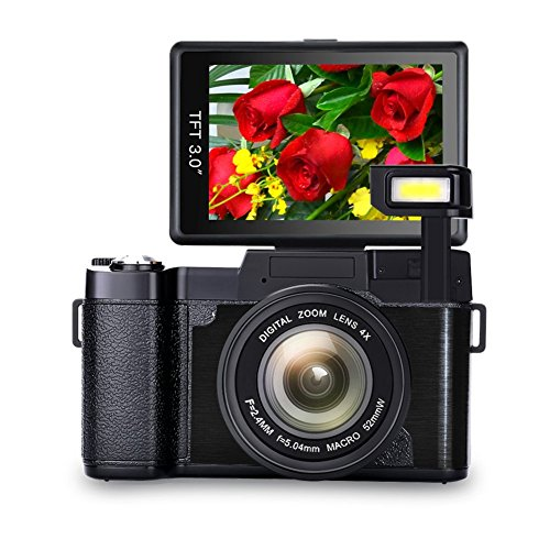 Digital Camera Vlogging Camera Full HD 1080p Vlog Camera  Point and Shoot Camera with 3.0 Inch Flip Screen with Retractable Flashlight by COMI