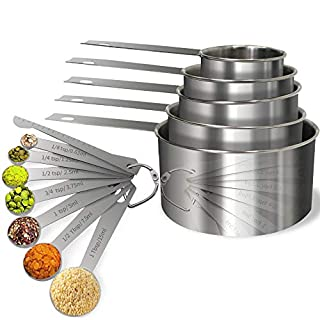 Stainless Steel Measuring Cups and Spoons Set Steel Material Heavy Duty 5 Measuring cups and 7 Measuring Spoons Pack 13pcs Per set