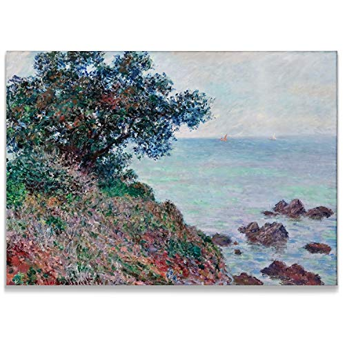 Monet Wall Art Collection Mediteranian Coast, Grey Day, 1888 Canvas Prints Wrapped Gallery Wall Art | Stretched and Framed Ready to Hang - Canvas Stretched 1888