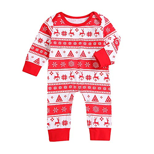 1 Creeper Set (Christmas Newborn Infant Baby Boys Girls Deer Romper Jumpsuit Outfits Clothes Unisex Cartoon T Shirt Children Party Princess Long Sleeves Clothes Jacket For Baby Toddler Kid Infant (Red, 0-6M))