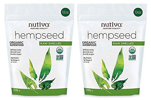Nutiva Organic, Raw, Shelled Hempseed from non-GMO, Sustainably Farmed Canadian Hemp, 12-ounce (Pack of 2) ()