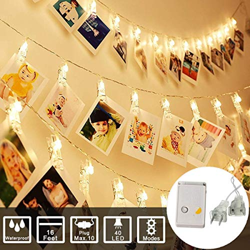 String Lights Photo Clip Lights String Plug in Powered with Female Plug (MAX 10 )For Photo Memos Card Clip Holder in Bedroom for Graduation Birthday Wedding Christmas Party (16Feet 40Led, Warm White) (Card Holder Light Christmas String)
