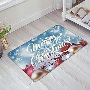 Libaoge Christmas Gold Red Silver Festival Balls Merry Christmas Doormat Welcome Mat Entrance Mat Indoor/Outdoor Door Mats Floor Mat Bath Mat