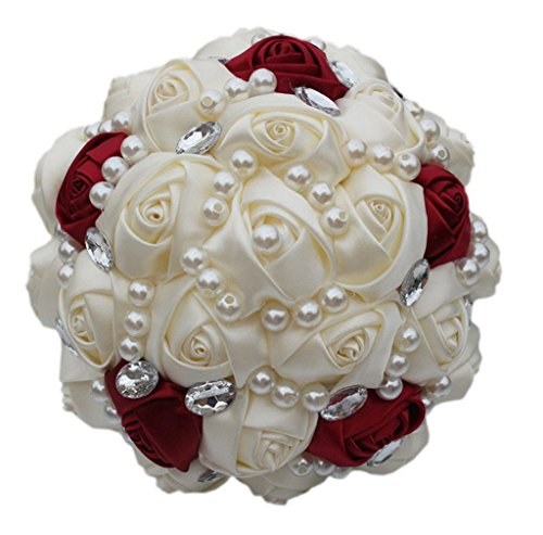 S-ssoy Customizable Ivory Wine Red Bridal Wedding Bouquets Pearls Crystal Silk Flowers Burgundy Bridal Bouquets