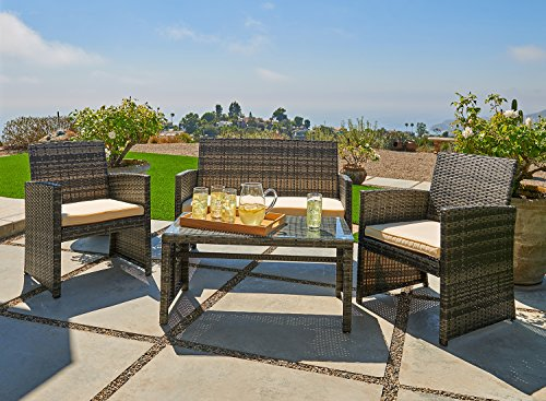 OUTROAD Outdoor Furniture 4 Piece Grey Wicker Patio Sofa Set - All Weather Cushioned Wicker Love Seat W/Glass Top Table & Two ()