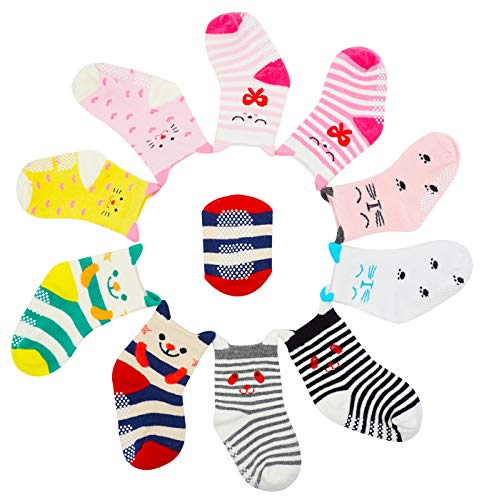 Bienvenu 10 Pairs Anti-slip Soft Cotton Baby Kid Socks,Multi Color_1 ()