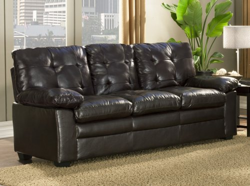 "Homelegance Charley 80""  Faux Leather Upholstered Sofa, Dark Brown"