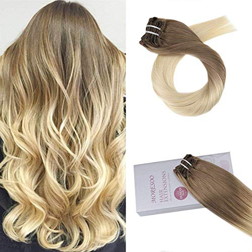 Moresoo 16 Inch Hair Extensions Clip in Human Hair Remy Hair Extensions Color #6 Brown Fading to #613 Blonde Clip ins Human Hair Clips Extensions Full Head Hair 7PCS 120G