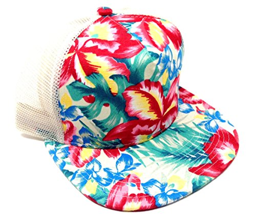 Crown Flat Bill Mesh Trucker Snapback Hat - Mixed Prints (Faded Floral Hibiscus - Beige Mesh)