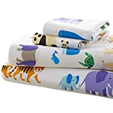 Wildkin Toddler Sheet Set, 100% Cotton Toddler Sheet Set with Top Sheet, Fitted Sheet, and Pillow Case, Bold Patterns Coordinate with Other Room Décor, Olive Kids Design – Endangered Animals