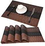 Famibay Bamboo PVC Weave Placemats Non-slip Kitchen Table Mats Set of 4 - 30x45 cm (Color 2)