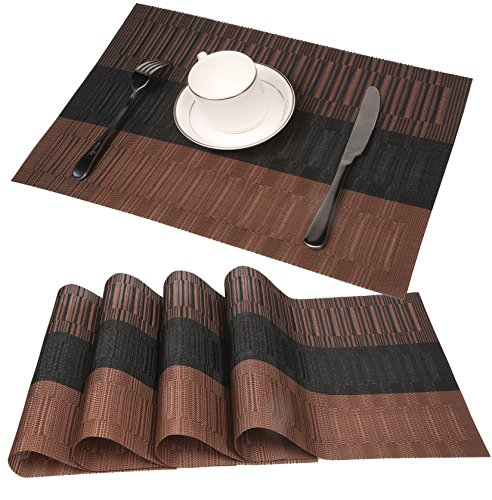 famibay Bamboo PVC Weave Placemats Non-Slip Kitchen Table Mats Set of 4-30x45 cm (Color 2) - Dinner place mats material:These PVC Place Mats are made of 70% PVC and 30% polyester yarn,which makes this place mats sets are co-friendly and safe for dinner table use The dinner table mats effective insulation could reach to 80℃, could protect dinning table from scalding and create a enjoyable dining environment The place mats recommended by customers due to place mats' features, such as heat proof, non-slip, insulated, foldable and washable as well as pvc table mats nice appearance - placemats, kitchen-dining-room-table-linens, kitchen-dining-room - 51HdUCii12L -