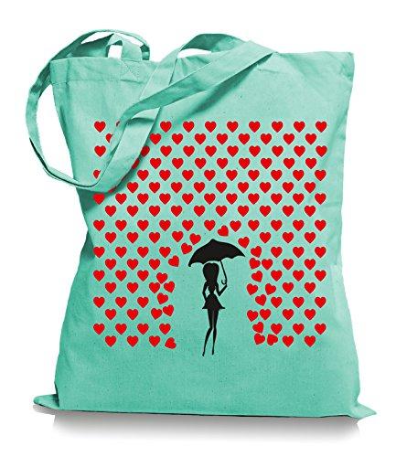 Ma2ca® Heart Rain - Jutebeutel Stoffbeutel Tragetasche / Bag WM101 Mint
