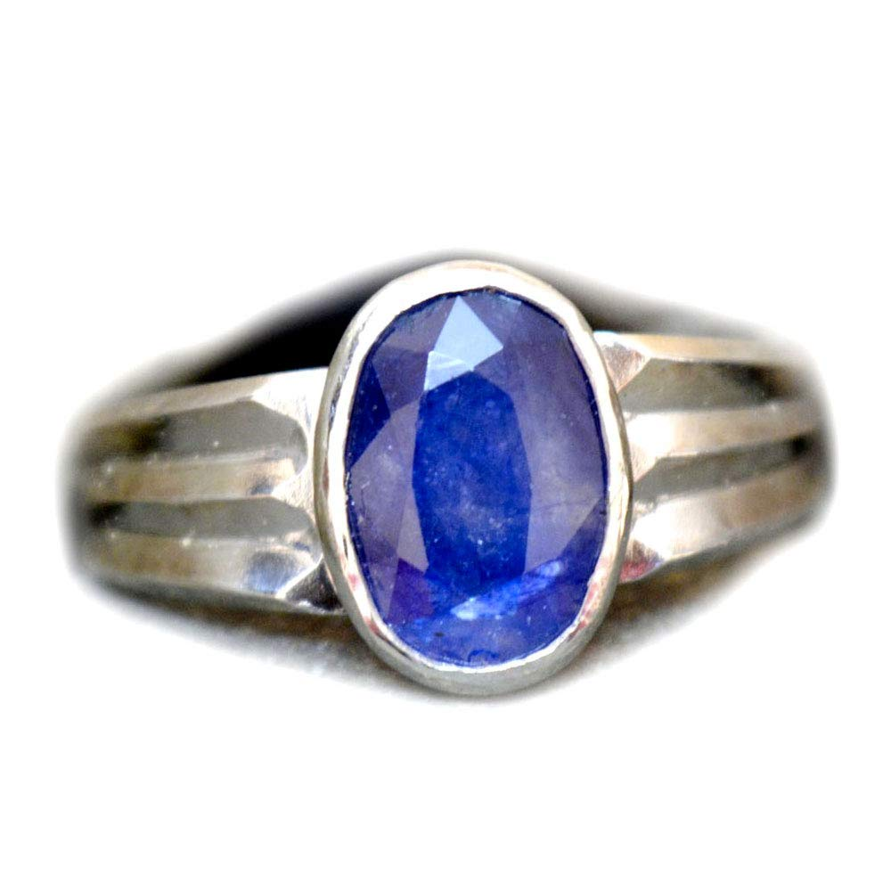 Sterling Silver Anniversary Wedding Band Ring Blue Simulated Sapphire Size 5-13