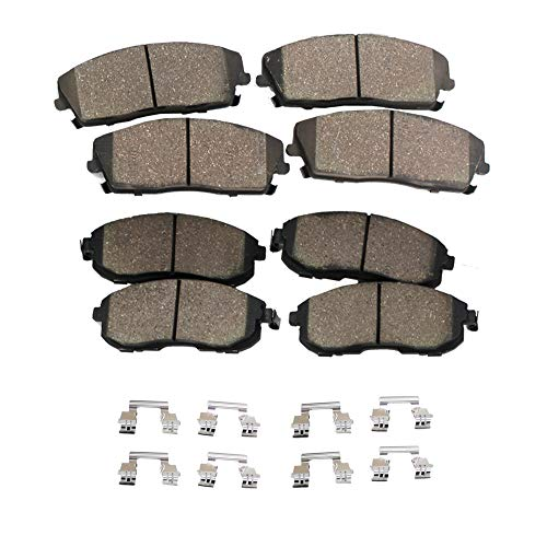 Detroit Axle - Complete Front and Rear Ceramic Brake Pads w/Hardware Clips for 2013 2014 2015 2016 2017 Honda Accord (Excluding LX)