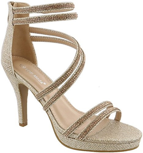Fabric Ankle Strap - Top Moda Inna-1 Women's Ankle Strap High Heel Open Peep Toe Sandals (10, Champagne)