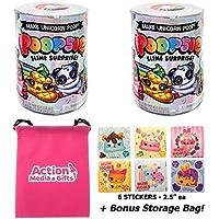 Poopsie Slime Surprise Gift Bundle (2 Pack) Poop Pack Series 1 + (6) Scented Num Noms Stickers + Bonus Action Media Storage Bag!