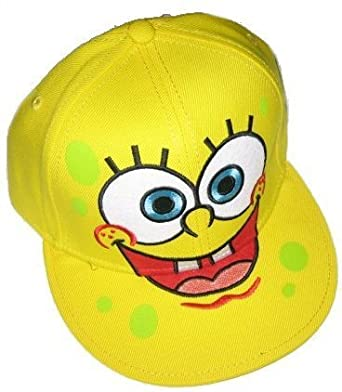 295ec799404ce Amazon.com  Sponge Bob Square Pants Spongebob Squarepants Face Fitted  Flat-bill Hat  Clothing