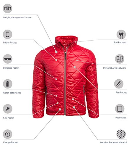 SCOTTeVEST Puffer Jacket - 19 Pockets - Travel Clothing, Pickpocket Proof, Cardinal, Large