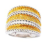 Sterling Silver 0.75ct Yellow Diamond Multi-Row Ring