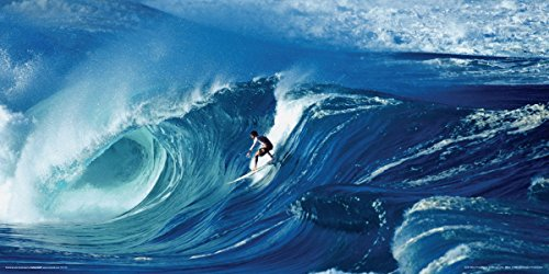 Big Wave Surfing North Shore Waimea Hawaii Shore break Decorative Summer Water Sports Poster Print, Rolled 12 by 24
