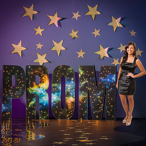 Prom Scene Setters - 4 ft. 4 in. Mystic Space Galaxy Lighted Prom Letter Set Standup Photo Booth Prop Background Backdrop Party Decoration Decor Scene Setter Cardboard Cutout