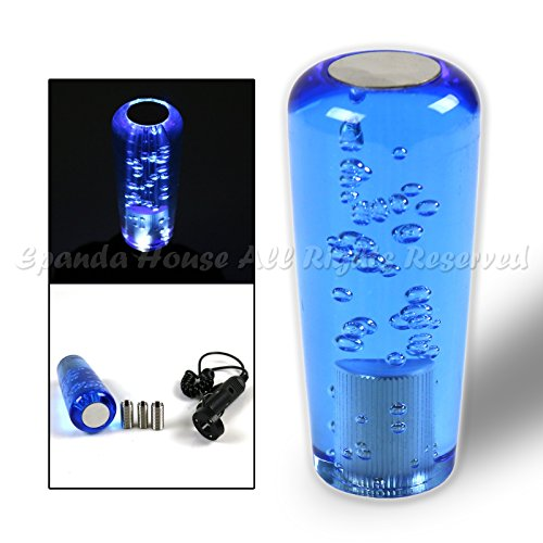 Blue Long Knob - For Kdm Cars! M10 Thread! 10Cm Glowing Led Blue Bubble Crystal Long Shift Knob